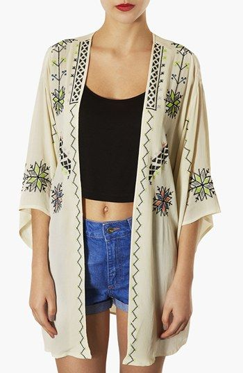 Topshop Embroidered Kimono Jacket available at #Nordstrom want want want!!!!