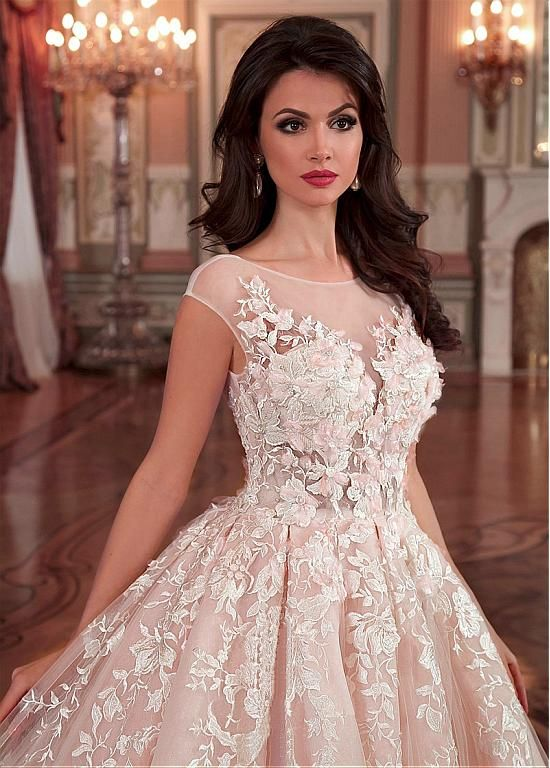 Buy discount Stunning Tulle & Organza Bateau Neckline Ball Gown Wedding Dress With Lace Appliques & 3D Flowers & Beadings at Dressilyme.com