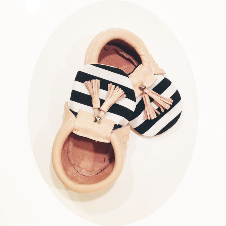 Crew & Lu Striped baby moccasins
