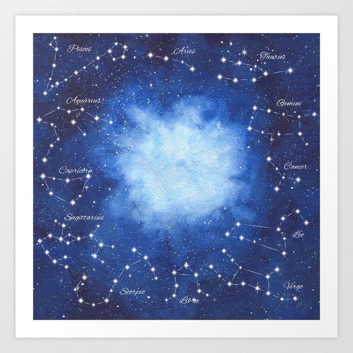 Cosmic Horoscope Art Print #space #zodiac #signs #horoscope #universe #galaxy #nebula #stars #constellations #watercolor #painting #night #buy #buyonline #shopping #giftidea #present #society6 #artprint #homedecor #home #decoration #decor