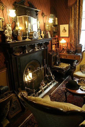 .: Victorian Parlor, Living Rooms, 221B Baker Street, Style Fireplaces Cozy, Victorian Living Room, Holmes Museums, Dark Decor Interiors, Sherlock Holmes, Victorian Rooms