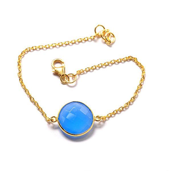 Βραχιόλι μπλε πέτρα  επιχρυσωμένο  ασήμι 925  4529