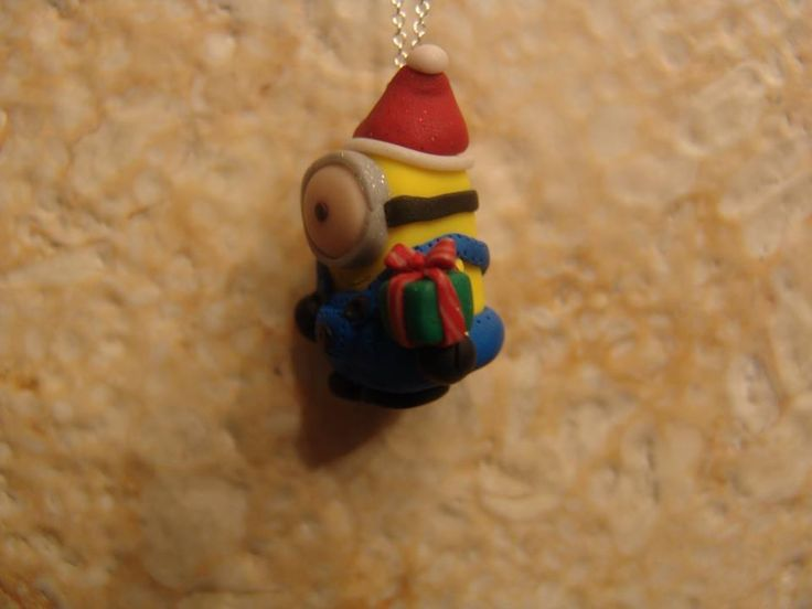 polymer clay yellow christmas minion! https://www.facebook.com/ClayMiniGifts/