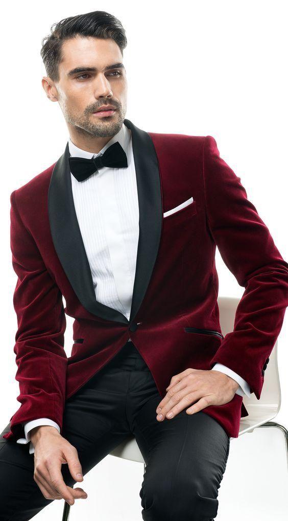 Latest Coat Pant Designs Burgundy Velvet Shawl Lapel Men Suit Formal Skinny Groom Blazer Custom Men Tuxedo 2 Piece Terno H97