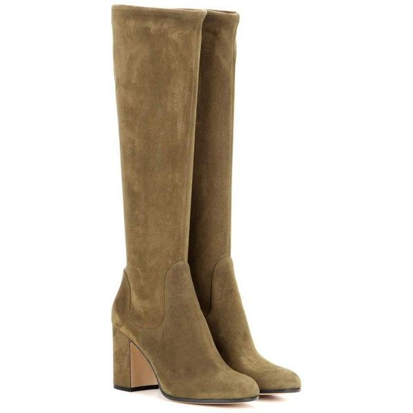 Gianvito Rossi Suede Knee-High Boots (14 050 ZAR) found on Polyvore featuring women's fashion, shoes, boots, green, gianvito rossi, gianvito rossi boots, green knee high boots, suede knee-high boots and green boots