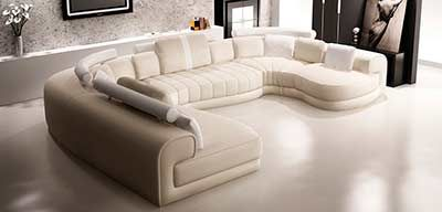 Cream and White leather sectional sofa VG129