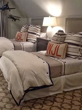 So adorable for a boys room! Metropolitan Musings: Monogrammed Bedding