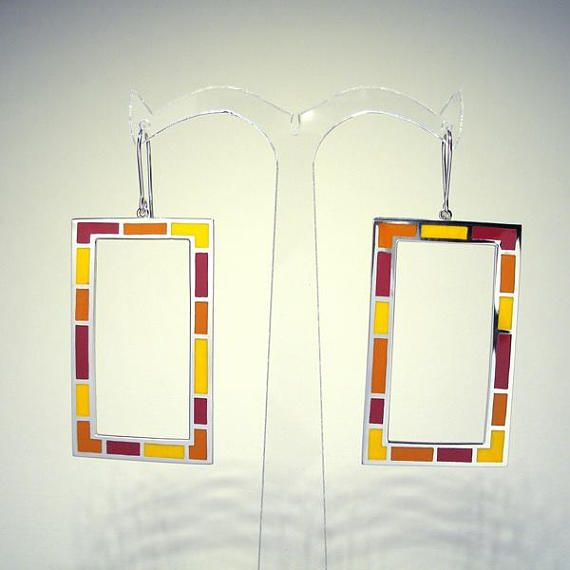 Pop Art Big Square SILVER ENAMEL EARRINGS