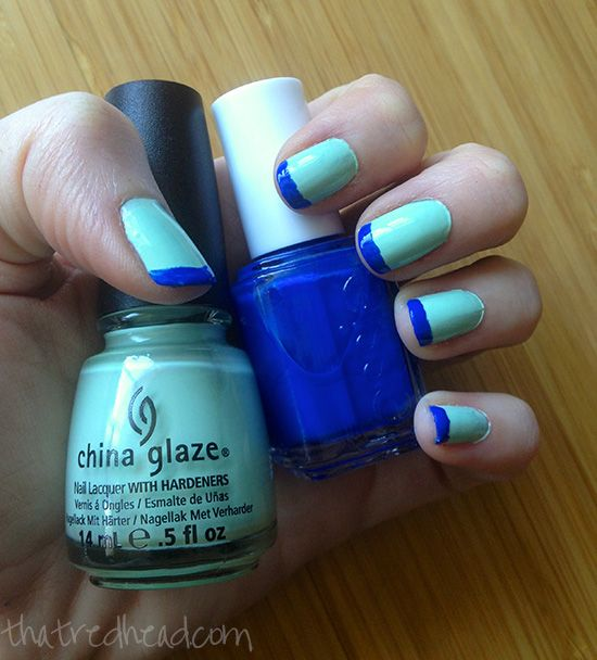 China Glaze Re-Fresh Mint and Essie Butler Please. Color on color French manicure in mint green and blue via ThatRedhead.