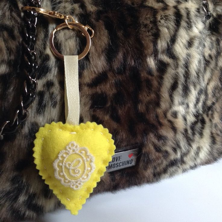 Lace monogram at wool felt heart handmade with a gold keychain💛 etsy, handmade, withlove, madeinGreece, gift, style, fashion, shopping, online, wool, wool felt, lace, details, monogram, Moschino, love, heart, yellow