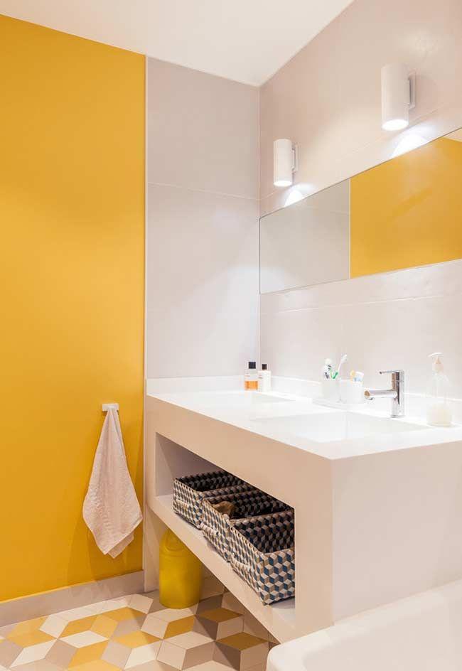 Banheiro Amarelo E Cinza Banheiro Amarelo Interior Do Banheiro Projeto Do Banheiro