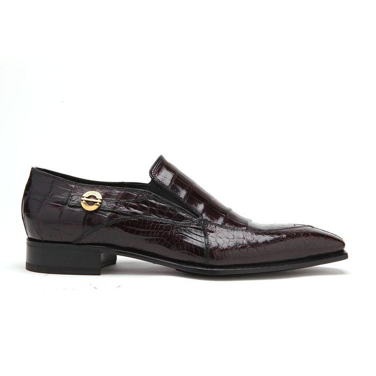 Caporicci Italian Mens Shoes Burgundy Alligator Loafers ART203 (CAP1004)