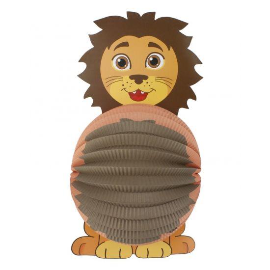 Lampion leeuw 22 cm. Papieren bollampion in leeuwen uitvoering. De lampion is niet brandvertragend.