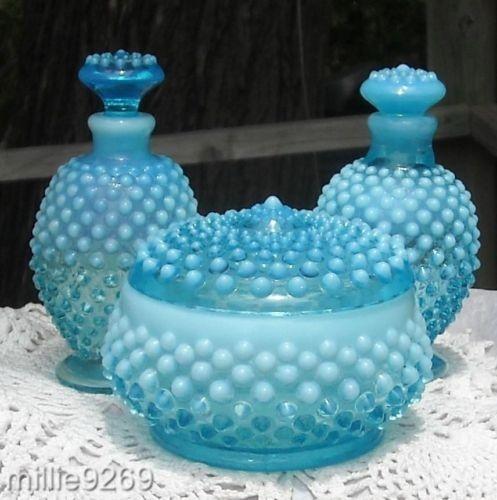 Fenton Blue Opalescent Hobnail Glass Vanity-2 Perfumes & Powder Jar 1940's-50's $140