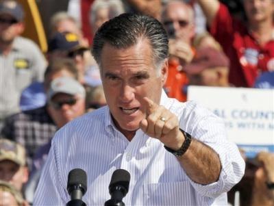 126 10/5/12 Republican presidential candidate, former Massachusetts Gov. Mitt Romney gestures during a rally in Abingdon, Va., Friday, Oct. 5, 2012. ((AP Photo/Steve Helber))