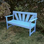 Outdoor Garden Bench Project. Built from pine boards available from you local home store, this outdoor bench can be built with only a jigsaw and screw gun. A simply coat of paint to match your decor and you'll be sitting pretty! (FREE plans to download.)