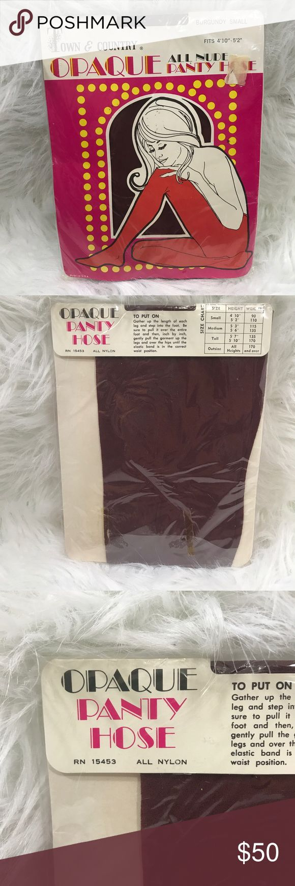 VTG TOWN AND COUNTRY OPAQUE BURGUNDY PANTYHOSE Brand new vintage town and country pantyhose size small. Great for Halloween, a collector or a prop! town and country Intimates & Sleepwear