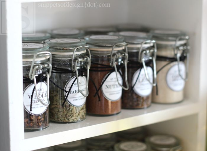 Spice Cabinet Facelift & Free Printables/ Snippets of Design
