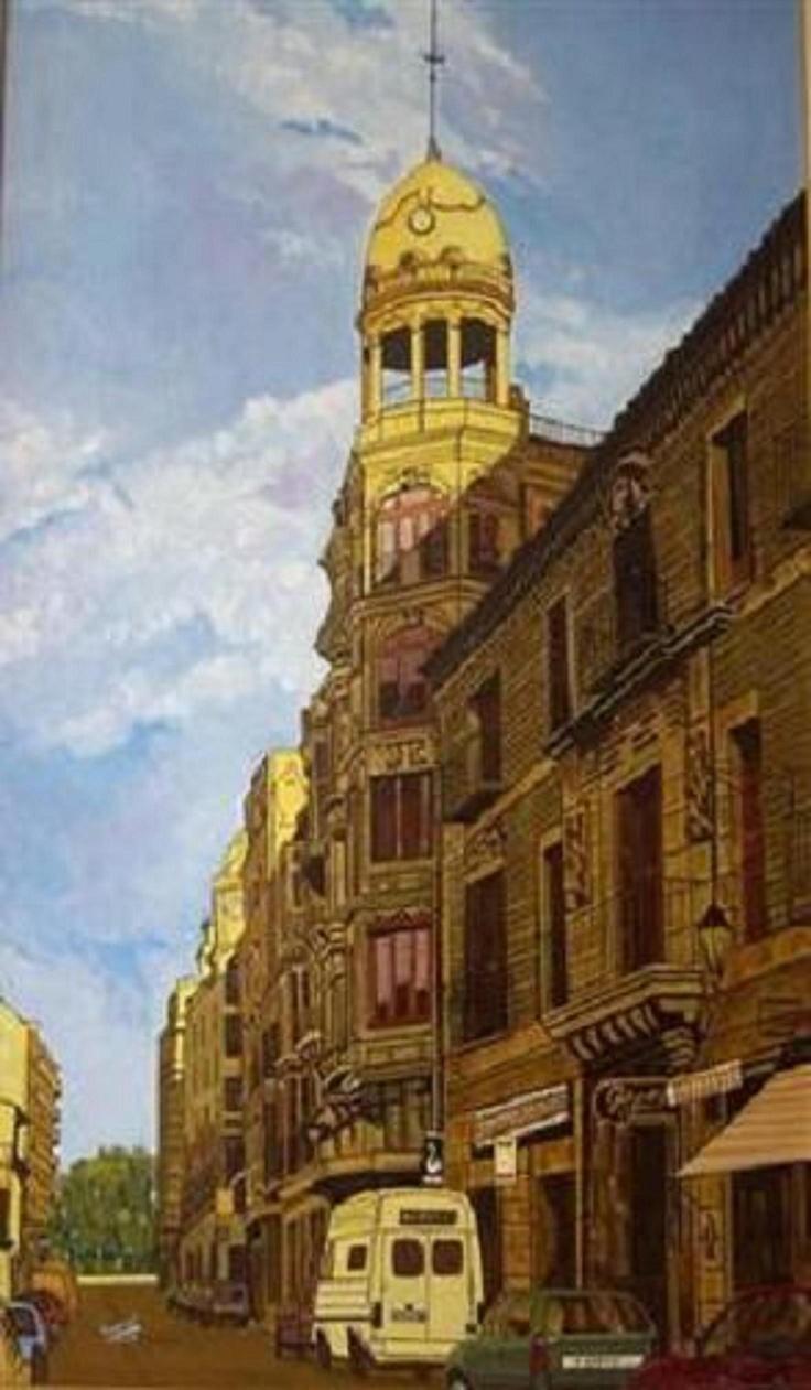 Calle Mayor (Palencia), óleo sobre tela, 130 x 81.
