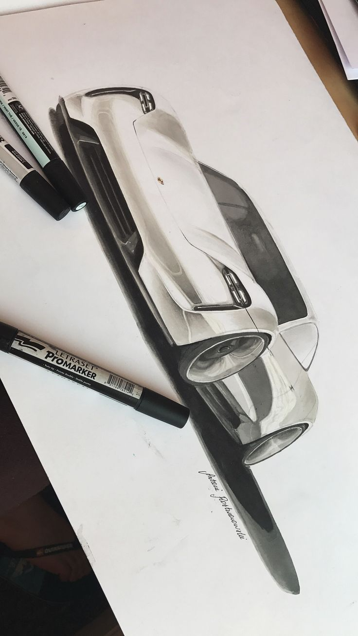 Car design rendering with markers by Antoni Rostworowski ® 2016 #car #art #porshe #missionE #gray #white #artsy #illustration #designsketch #marker #rendering #concept #industrialdesign #design #promarker #drawing #sketch