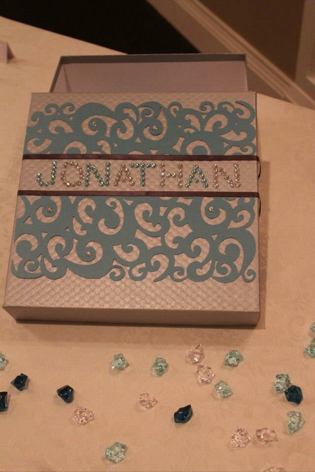 Money box for baptism, then used as a memory box #madewithlovebyjen