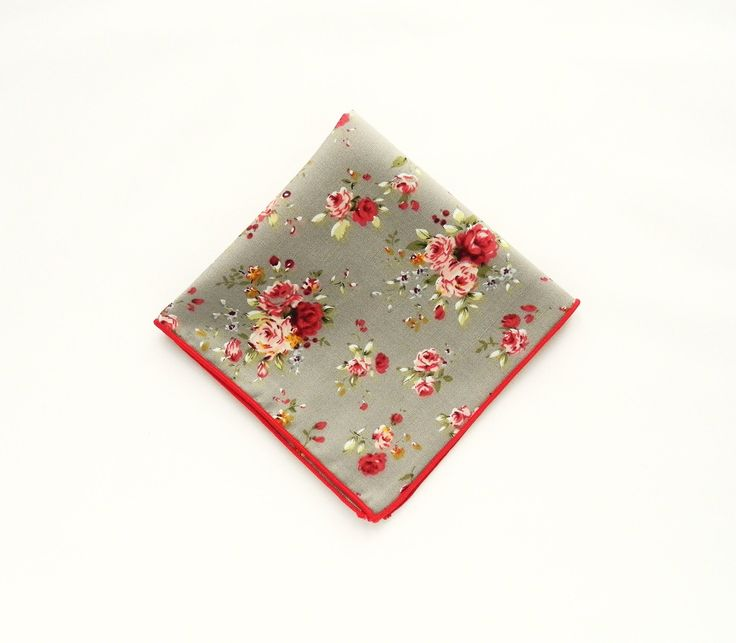 Grey floral pocket square pink red roses floral prints wedding floral pocket square gift for him groomsmen uk by TheStyleHubTrends on Etsy