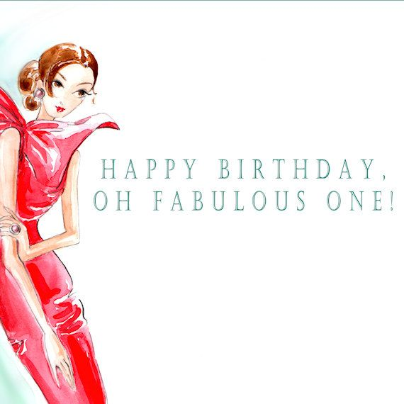Haute Couture Inspired Greeting Card - Happy Birthday Oh Fabulous One. $4.95, via Etsy.