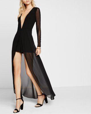 black romper maxi dress