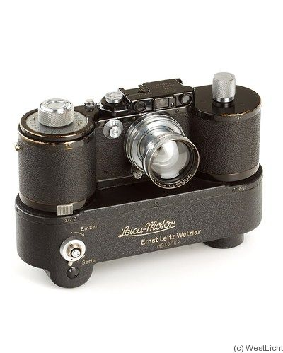 Leica Reporter GG 250 (with Motor): Leitz | This vintage Leica camera was rare (with only about 950 bodies made) and was modified by Leica to be able to hold 10 meters worth of bulk load film. It was modeled after the Leica III Model G.