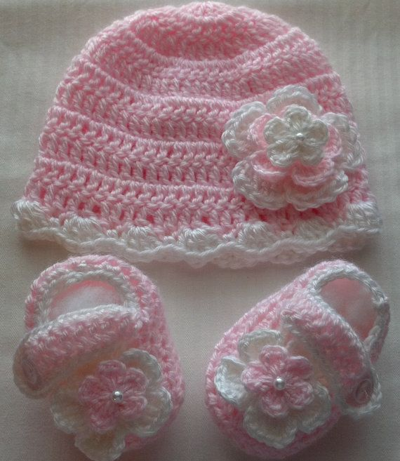 Baby Girl Pink and White CrochetHat Booties photo by babybear27129