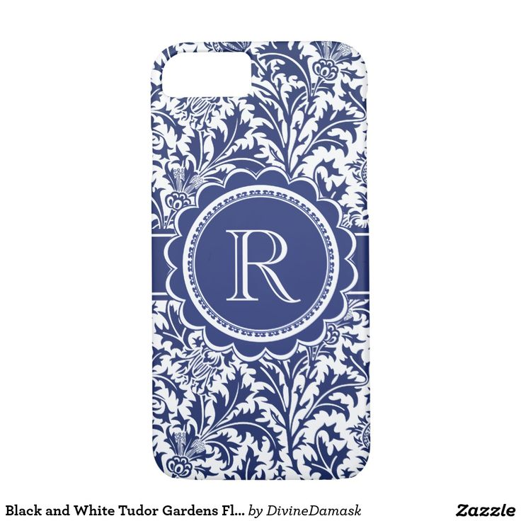 Blue and White Tudor Gardens Floral Damask iPhone 7 Case