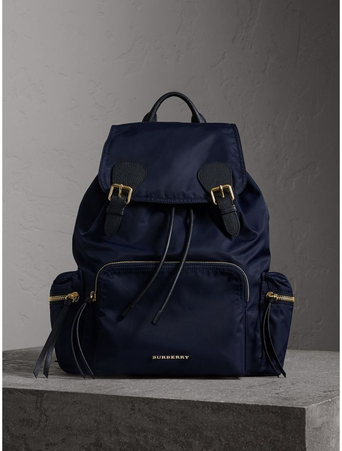 Leather and fabric Rucksack backpack Burberry vMfLA7qXdp