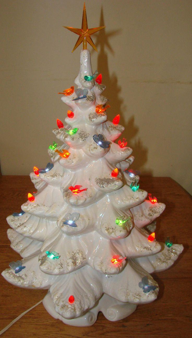 Vintage Ceramic Christmas Tree With Lights - 22 vintage white ceramic flocked christmas tree glitter 48 multi colored lights