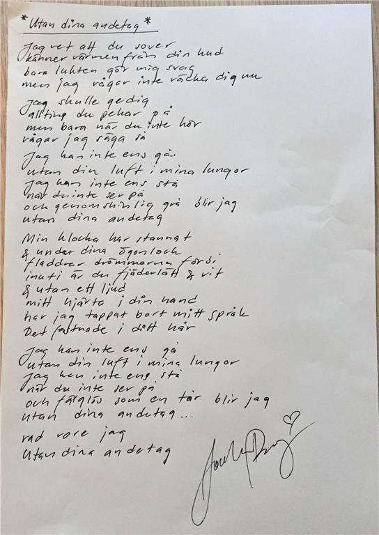 """Jocke Berg i Kent; låttexten till """"Utan dina andetag"""""""