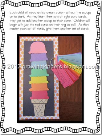 letters first, then 10 words at a time: Ice Cream Party, Ice Cream Parties, Student, Learning Sight Words, Math Facts, Words Rings, Colors Codes, Words Ideas, Ice Cream Cones