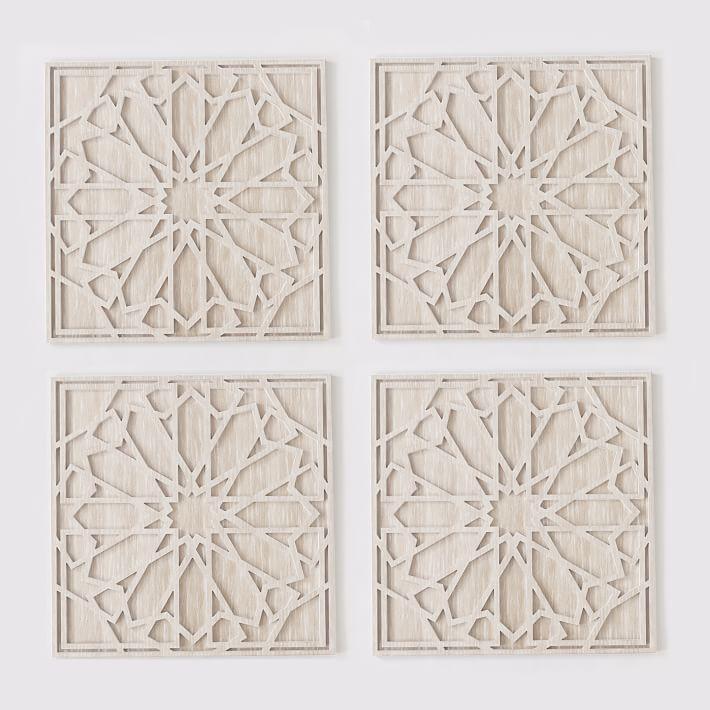 Graphic Wood Wall Art Whitewashed Square Set Of 4 Stone Wall Design Wood Wall Wood Wall Art