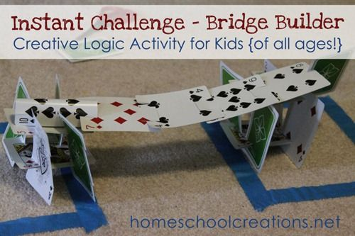 Bridge Builder Instant Challenge - a fun creative logic activity for children. Uses one deck of cards and a pair of scissors for building a structure that can hold weight - via homeschoolcreations.net