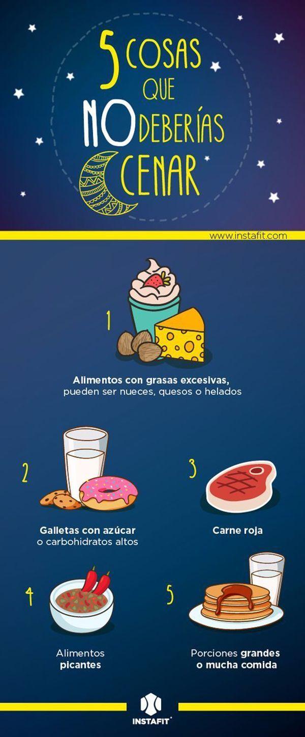 Algunos alimentos que no deberías cenar si quieres adelgazar. #adelgazar #nutricion #infografias