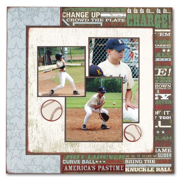 Baseball scrapbook page - love the layout!