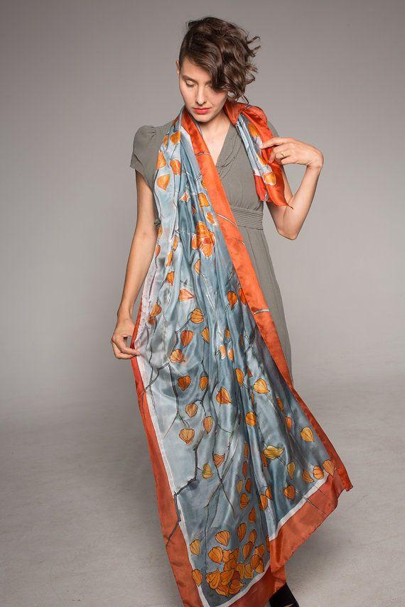 Winter Cherry hand painted silk scarf. Shawl scarf painted. Luxury scarf, shawl. Painted silk scarf. Floral, Decorative scarf grey tangerine