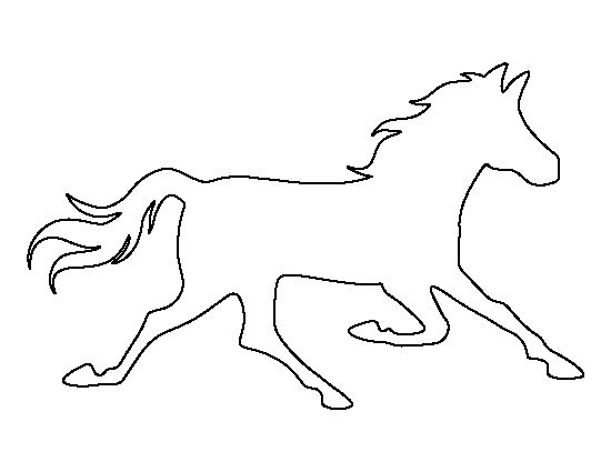 Running horse pattern. Use the printable outline for crafts, creating stencils, scrapbooking, and more. Free PDF template to download and print at http://patternuniverse.com/download/running-horse-pattern/
