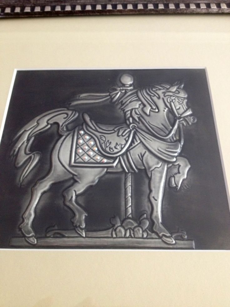Carousel pewter embossed horse.  The Pewter Room