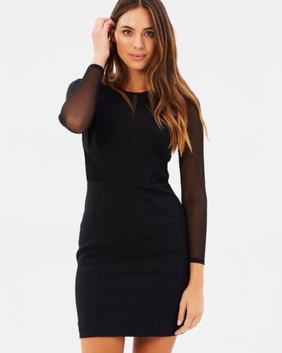STUNNING-KAREN-MILLEN-BLACK-MESH-LONG-SLEEVE-PENCIL-DRESS-UK-SIZE-14-RRP-190