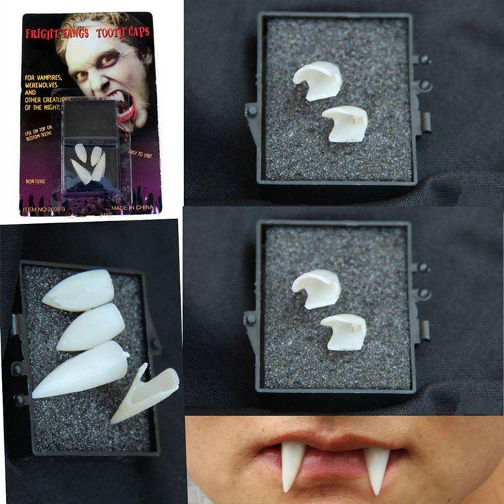 4 stks/partij Tanden Halloween Demon Canine Zombie Vampire Kunstgebit Fun Shocker Joke Gag Prank Gift Crazy Truc Vent Nieuwigheid Grappige speelgoed