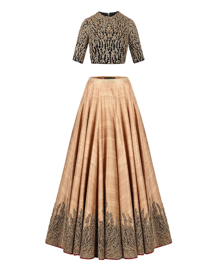 Beige Lengha Set with Patchwork