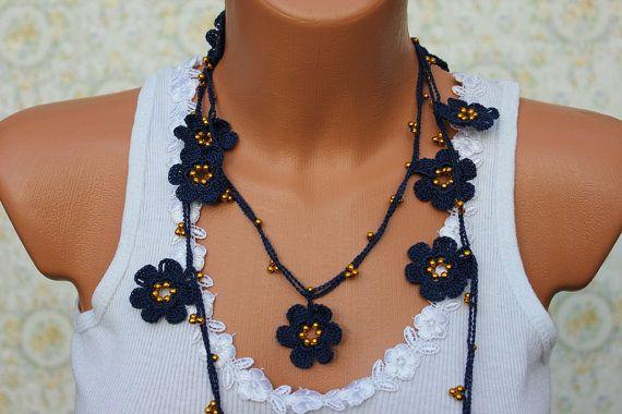 Marina e oro Collana Crochet, collana Lariat, Open End collana, collana OYA, dono di damigelle
