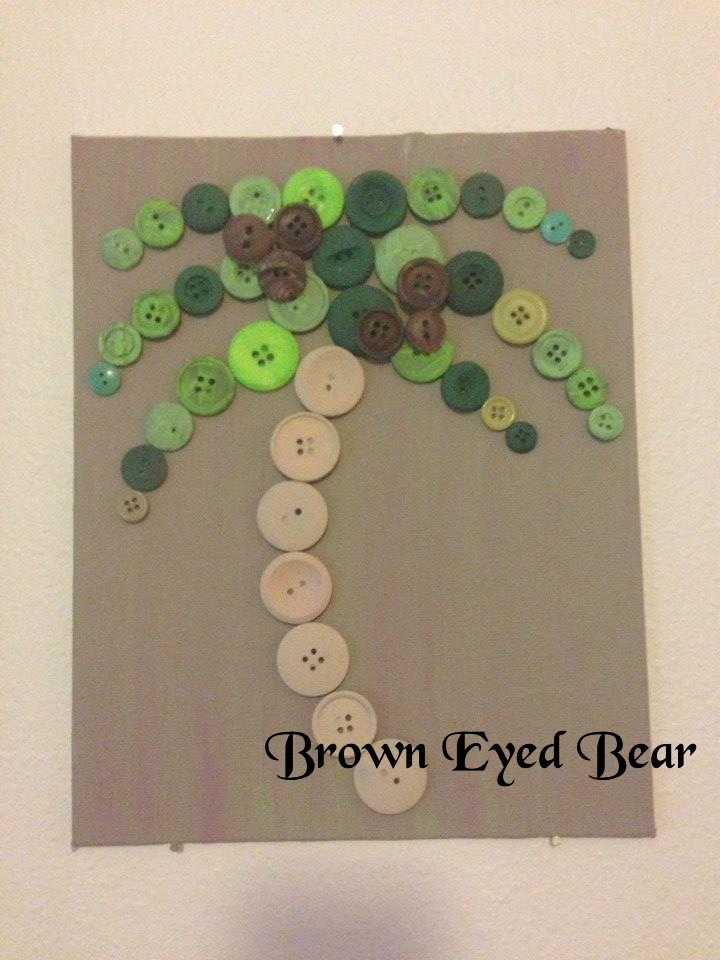 Button palm tree. Home decor on Brown Eyed Bear on Facebook.