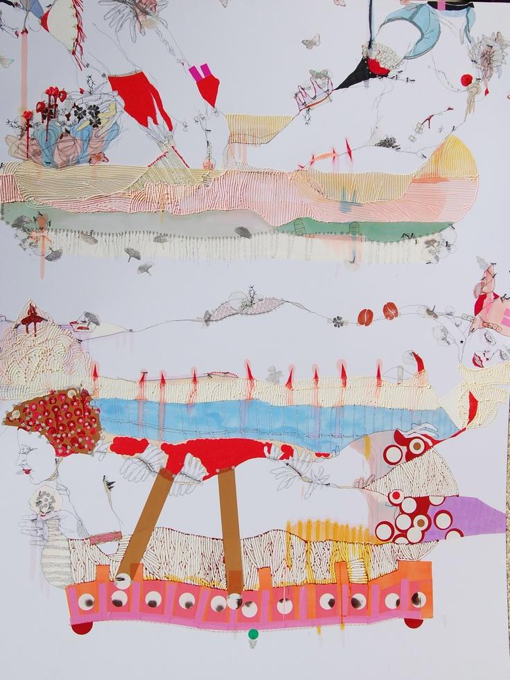 Elena Monzo Principessa sul pisello, 2009 tecnica mista su carta | mixed media on paper 200 x 150 cm