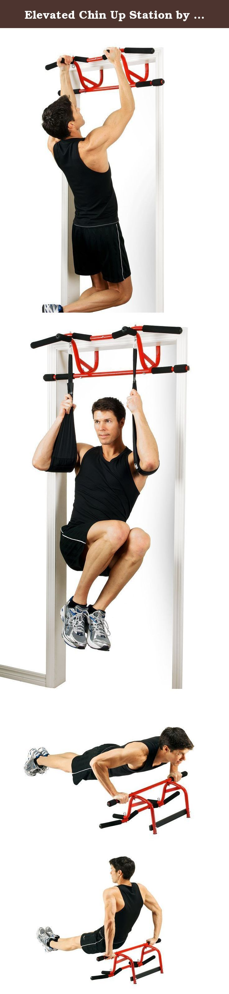 Elevated Chin Up Station by GoFit. THE ELEVATED CHIN UP STATION TAKES CHIN UPS TO A NEW LEVEL — literally. Our multi-use Chin Up Station incorporates a new patent-pending design which elevates you above the door frame giving more clearance and a full range of motion for a better workout. The Elevated Chin Up Station instantly and easily mounts in a standard doorway with no screws, using leverage and gravity. It may be removed quickly and easily at any time with no tools. It can be used…