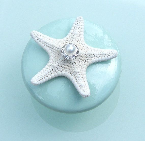 Starfish Knobs with Swarovski Crystal and Pearl Rhinestone l Coastal Bedrooms & Baths l www.DreamBuildersOBX.com